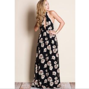 Floral Halter Maxi Dress - BLACK