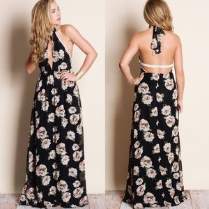 Floral Halter Maxi Dress - BLACK