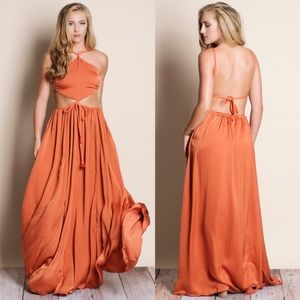 Cut Out Maxi Dress - BRICK