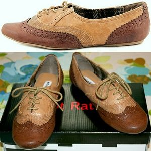 Not Rated Shoes - Distressed Brown & Tan Wingtip Oxfords NIB