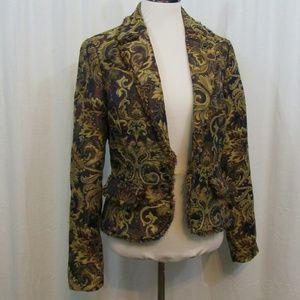 Cache Jackets & Blazers - Cache Brown Burgundy Embellished Open Front Blazer