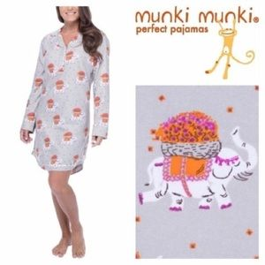 Munki Munki Other - NWT MUNKI MUNKI Medium Gray Elephant Nightgown