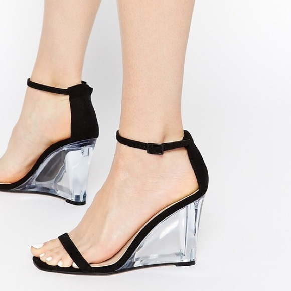 ASOS Shoes - Black strappy wedge w  clear heel