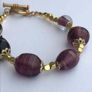 Jewelry - Vintage purple Venetian glass adventurine bracelet