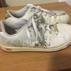 Ecko White Gold Tennis Shoes Size 6