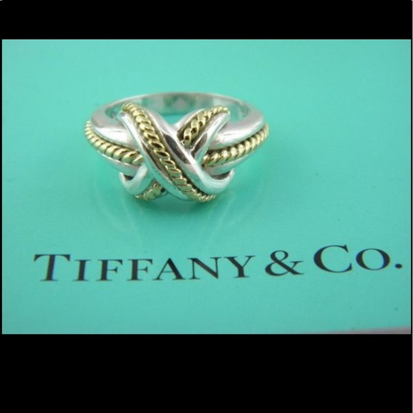 639b7b428b5cf 1990 TIFFANY & CO Crossover Love Knot Ring 925 18K