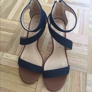 Worn Once! Sole Society Denim Strappy Sandals