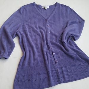 August Max Sweaters - August Max Woman Beaded Purple Cardigan