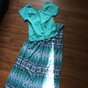 Xtraordinary Other - Xtraordinary Girl's Teal Print Maxi Skirt, Size XL