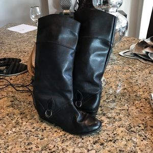 Black leather riding boots  knee high