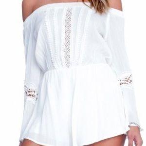 Lush Pants - Lush white crochet romper size medium