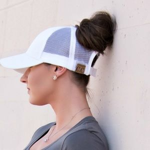C.C Accessories - 🆕 C.C TopKnot WHITE Ponytail Baseball Cap Hat 1a64d9448bf