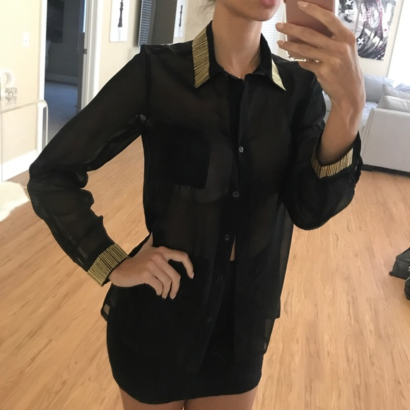 a66025af5 Rehab Tops | Black Sheer Button Up Blouse Wgold Metal Detail | Poshmark
