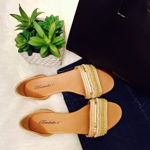 Breckelles Shoes - NWOT Breckelle's Gold Beaded Sandals
