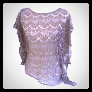 Ark & Co from Buckle Taupe Lace Top