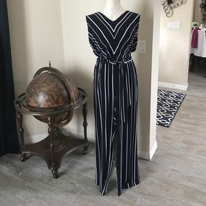 Chico's Pants - Chico's GORGEOUS Navy & White Striped Jumpsuit