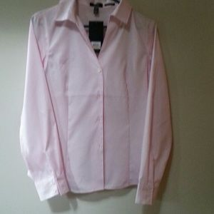 Easy care, crisp, light pink tailored blouse