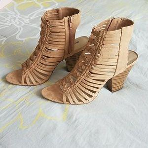 Tan faux suede cage heels