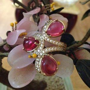 Vintage 925 ruby / topaz ring