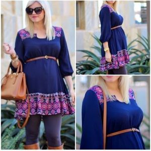 Tops - Blue maternity tunic