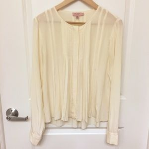 Ted Baker Tops - Ted Baker 100% Silk Ivory Pleated Blouse