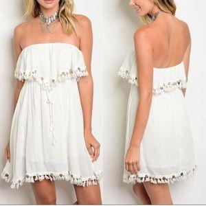 🛍 SALE Ivory Strapless Dress with Tassel Fringe