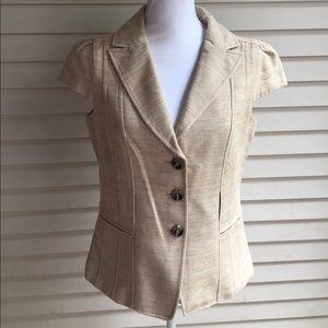 Ann Taylor Jackets & Blazers - Ann Taylor Taupe Button Down Short Sleeve Blazer