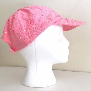 Pink Polyester Baseball Cap Hat with Ponytail Hole