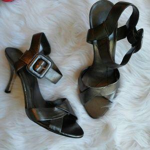 Ann Marino Shoes - Silver Ann Marino Ankle Wrap Heels