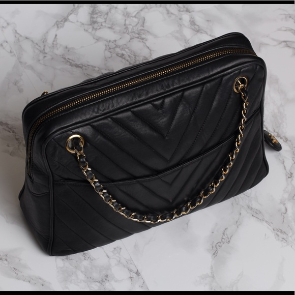 86e5b5dd90f5 CHANEL Handbags - AUTHENTIC Vintage CHANEL Chevron Shoulder Bag