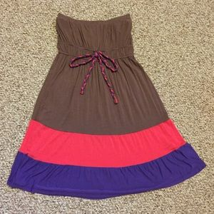 5th Culture Dresses & Skirts - Cute strapless brown, pink, & purple dress