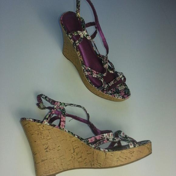 Shoes - Black & Purple Floral Cork Wedge Sandals