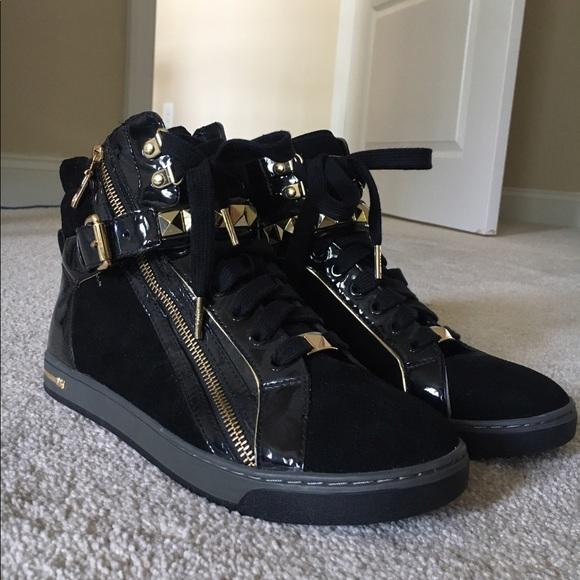 c7239a2a1b366 Michael Kors Black   Gold High Top Sneakers