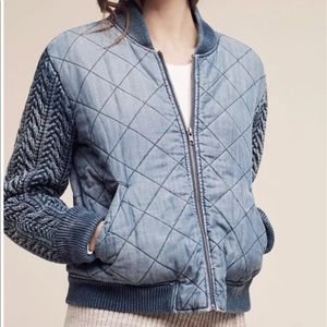NWT Cloth & Stone Quilted Chambray Jacket Anthro M