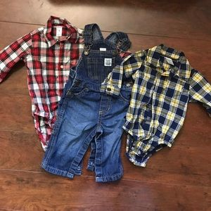 Carter's Other - Plaid button up with overalls