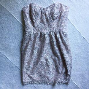 Shoshanna Dresses & Skirts - Shoshanna Strapless Metallic Lace Dress