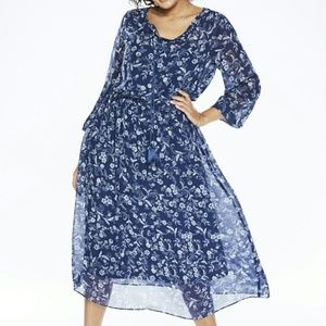 Woman Within Dresses & Skirts - Floral Peasant Dress