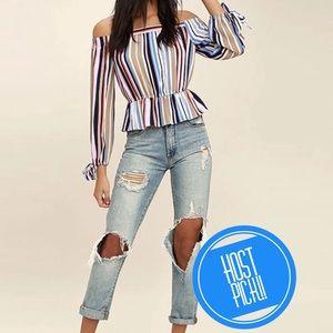 Tops - HPNew Item-Off Shoulder Elegant Striped Top
