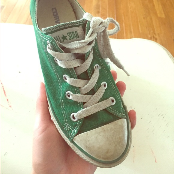 kids converse green shoes