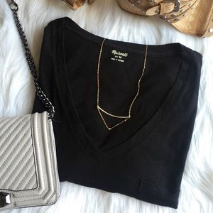 MADEWELL Whisper Cotton V-Neck Tee in Black