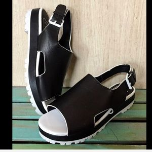 Anthropologie EEight Black Leather White Patent 37