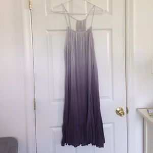 Mono B Dresses & Skirts - Grey Dip-Dye Ruffle-Trim Sleeveless Dress