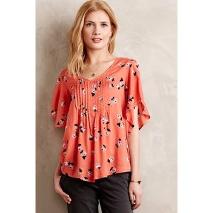 Maeve Anthropologie Fluttered Maya Floral Top