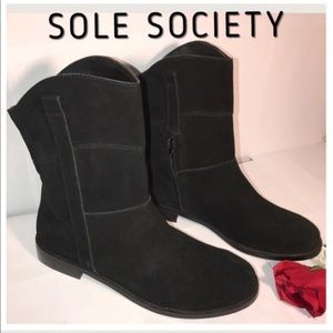 Sole Society Shoes - Some Society (sz11) Black Suede Boots