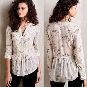 Maeve Anthropologie Abella Pintuck Floral Blouse