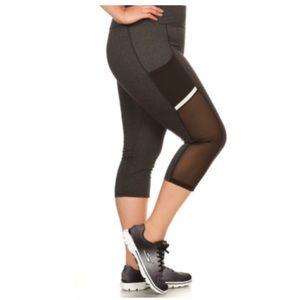 Pants - 3 LEFT!(Plus) Gray mesh panel capri athletic pants