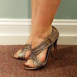 L.A.M.B. Shoes - L.A.M.B Strappy Metallic Leather Heels