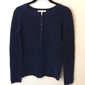 Maje Sweaters - Maje Navy Metallic Button Knit Henley Sweater
