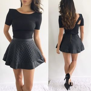 Topshop Black Quilted Faux Leather Skirt
