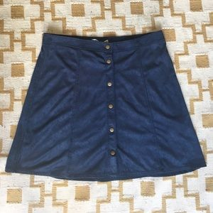 Navy suede A line skirt